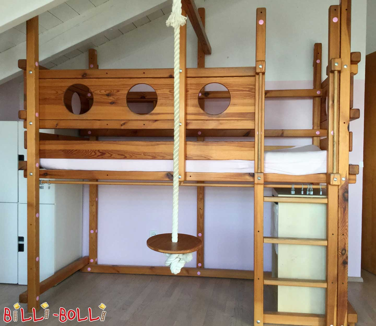 High bed, pine oil-waxed, 90 x 200 cm (second hand loft bed)