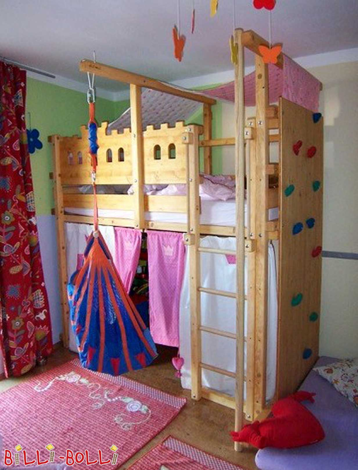 High bed with fire brigade pole and climbing wall (second hand loft bed)