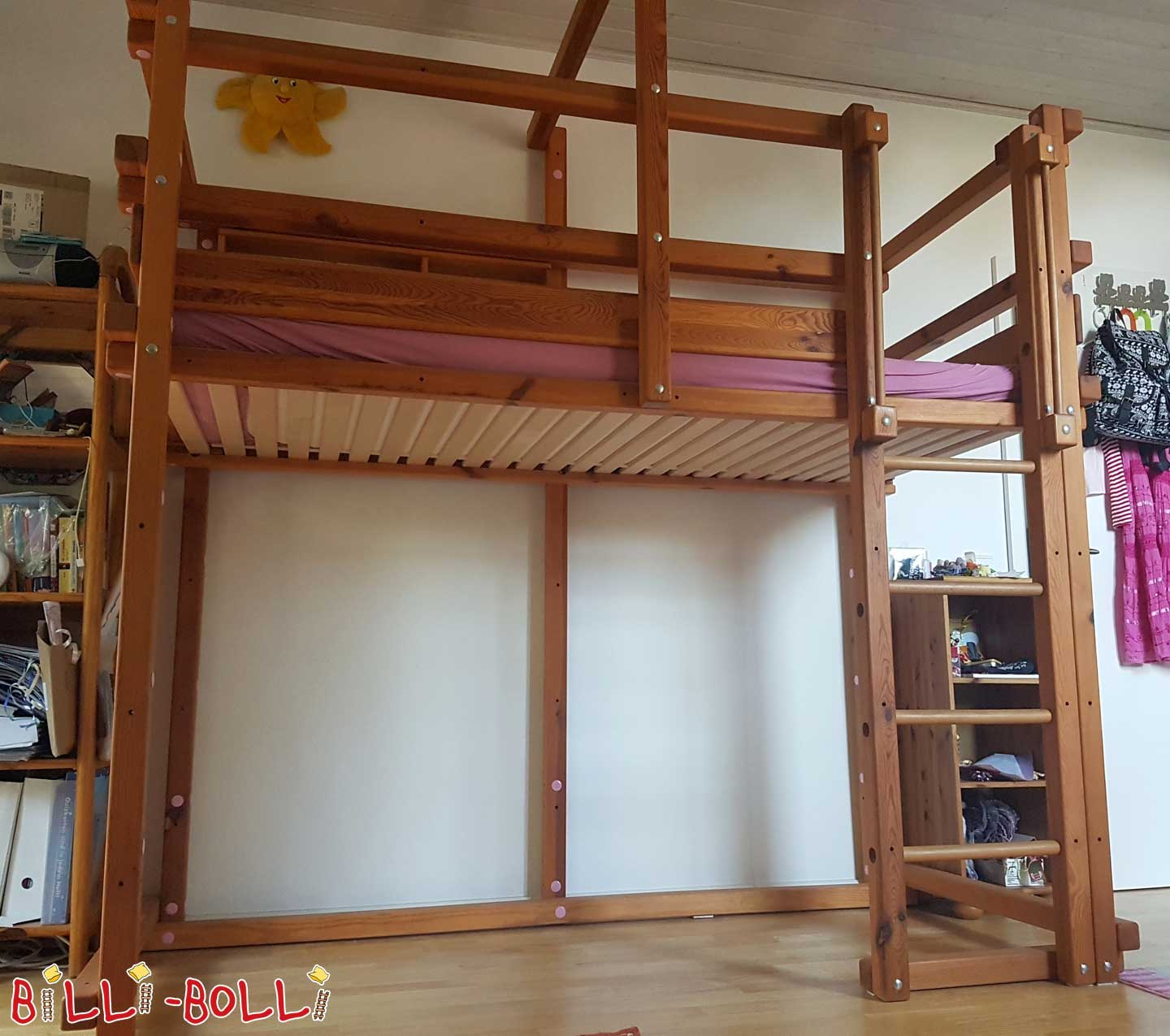 High bed with small bed shelf (second hand loft bed)
