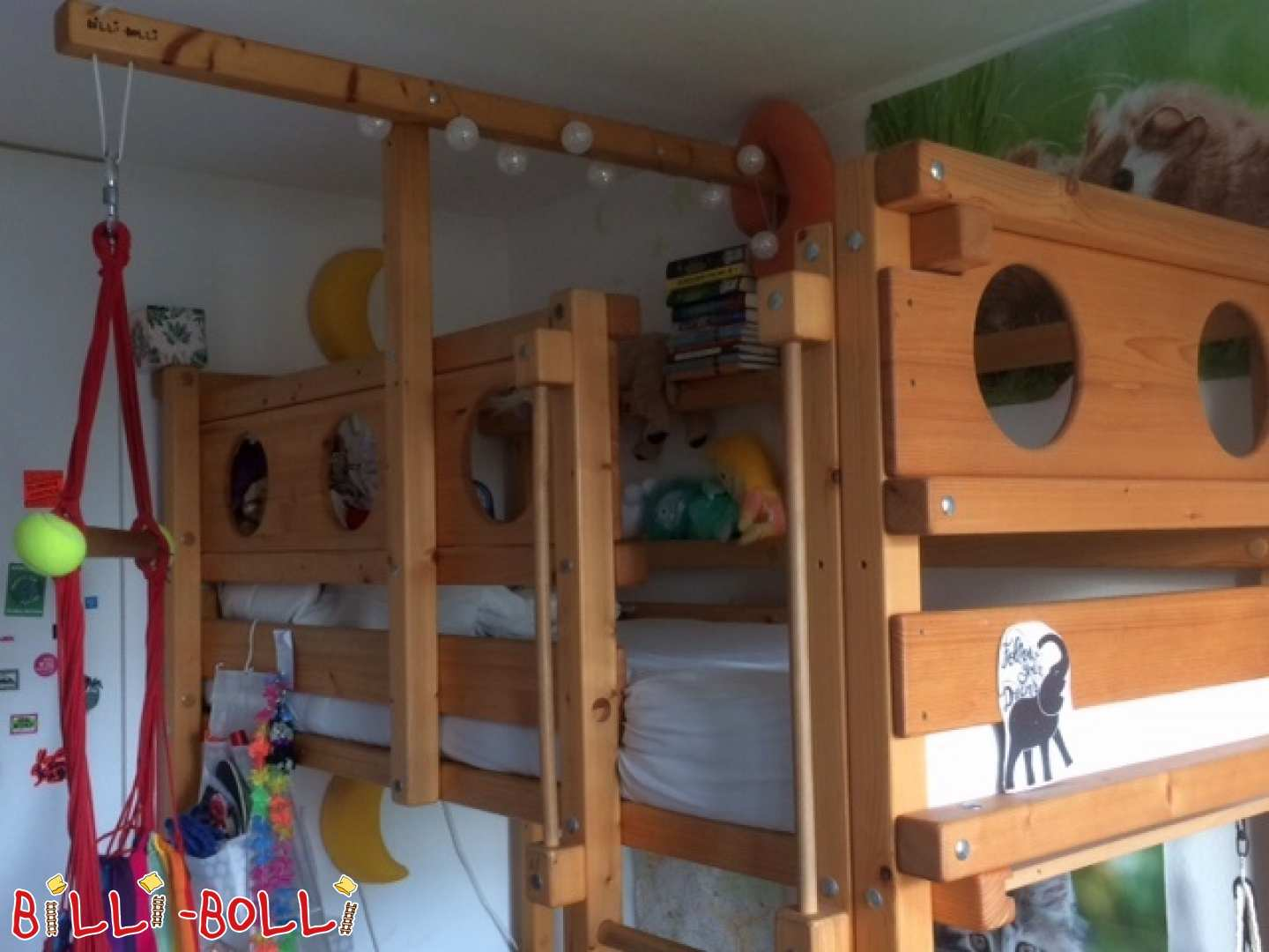 High bed with mattress size 80 x 190 cm from spruce oiled in Munich (second hand loft bed)
