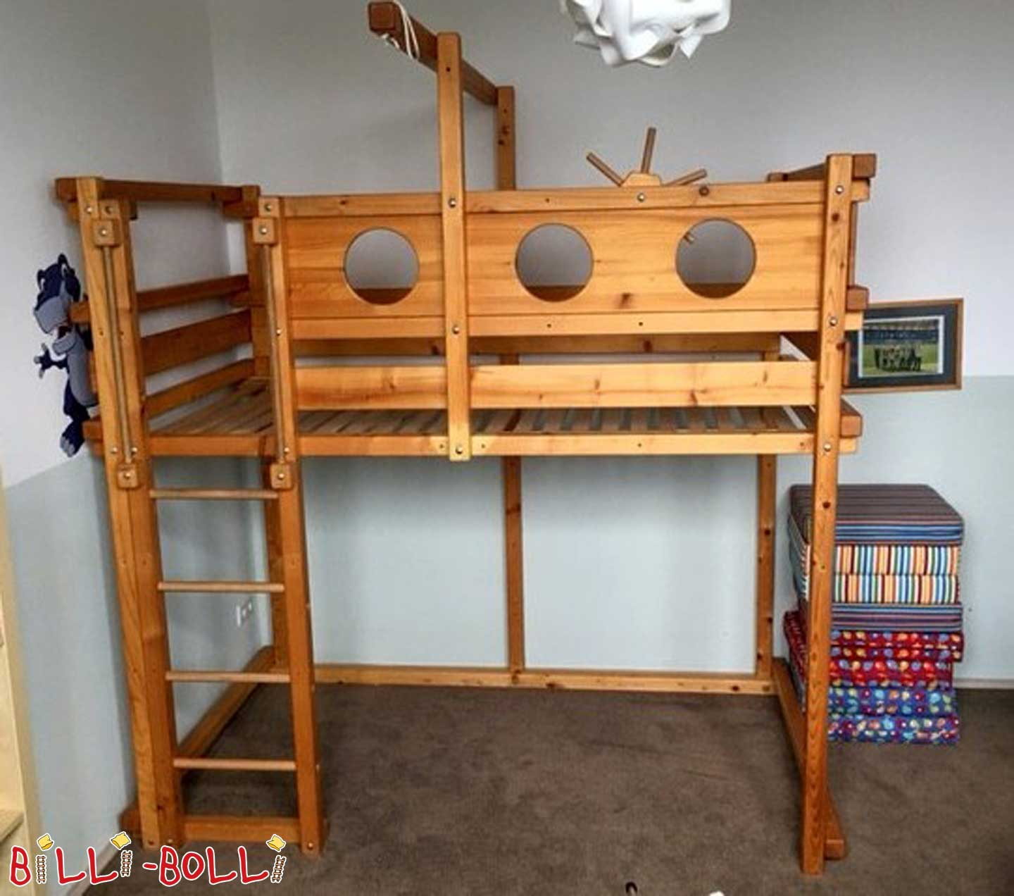 Raised bed with growing, 120 x 200 cm, spruce oiled-waxed (second hand loft bed)