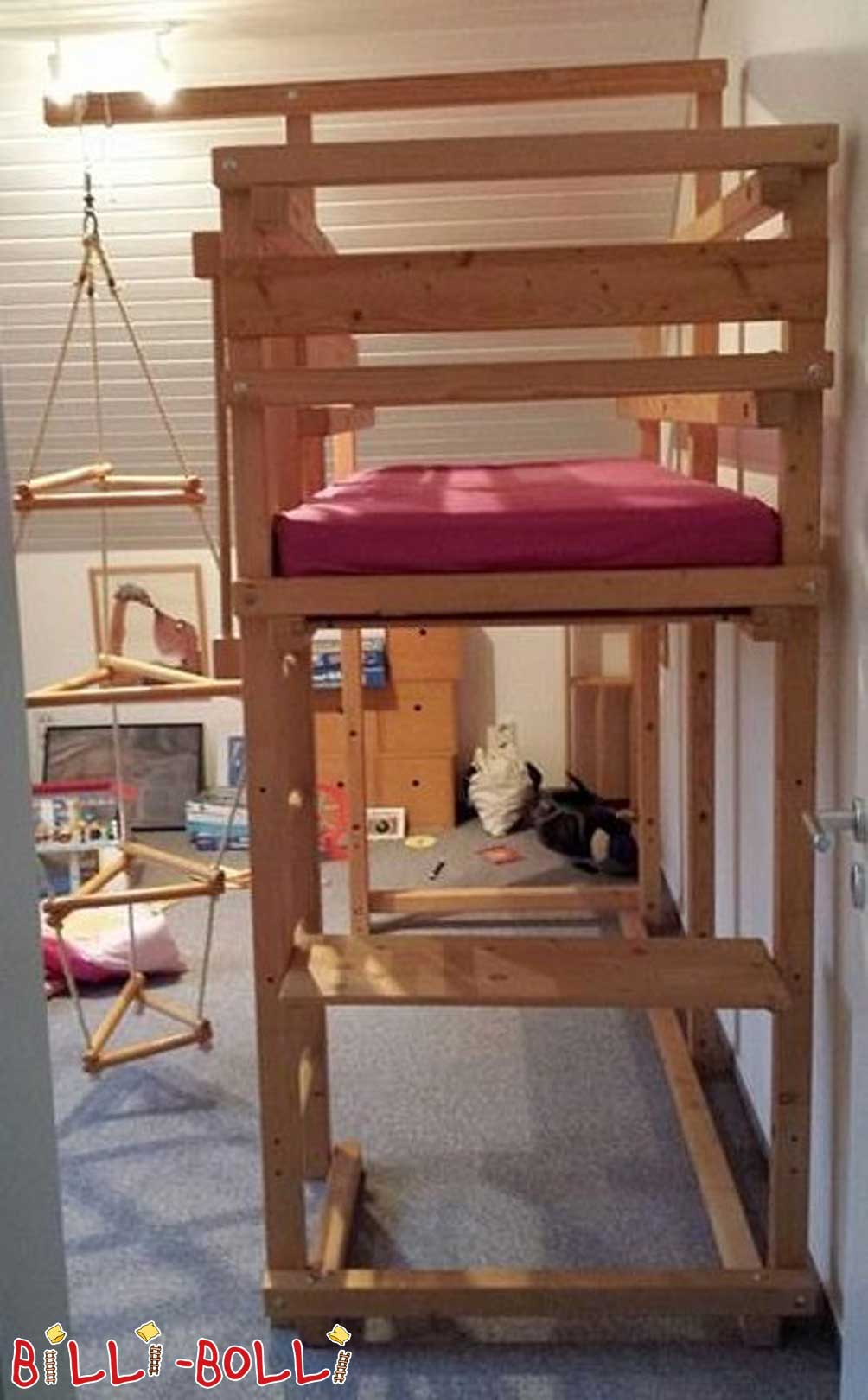 Croissant with bunk beds 80 x 190 cm, jaw if left untreated (second hand loft bed)