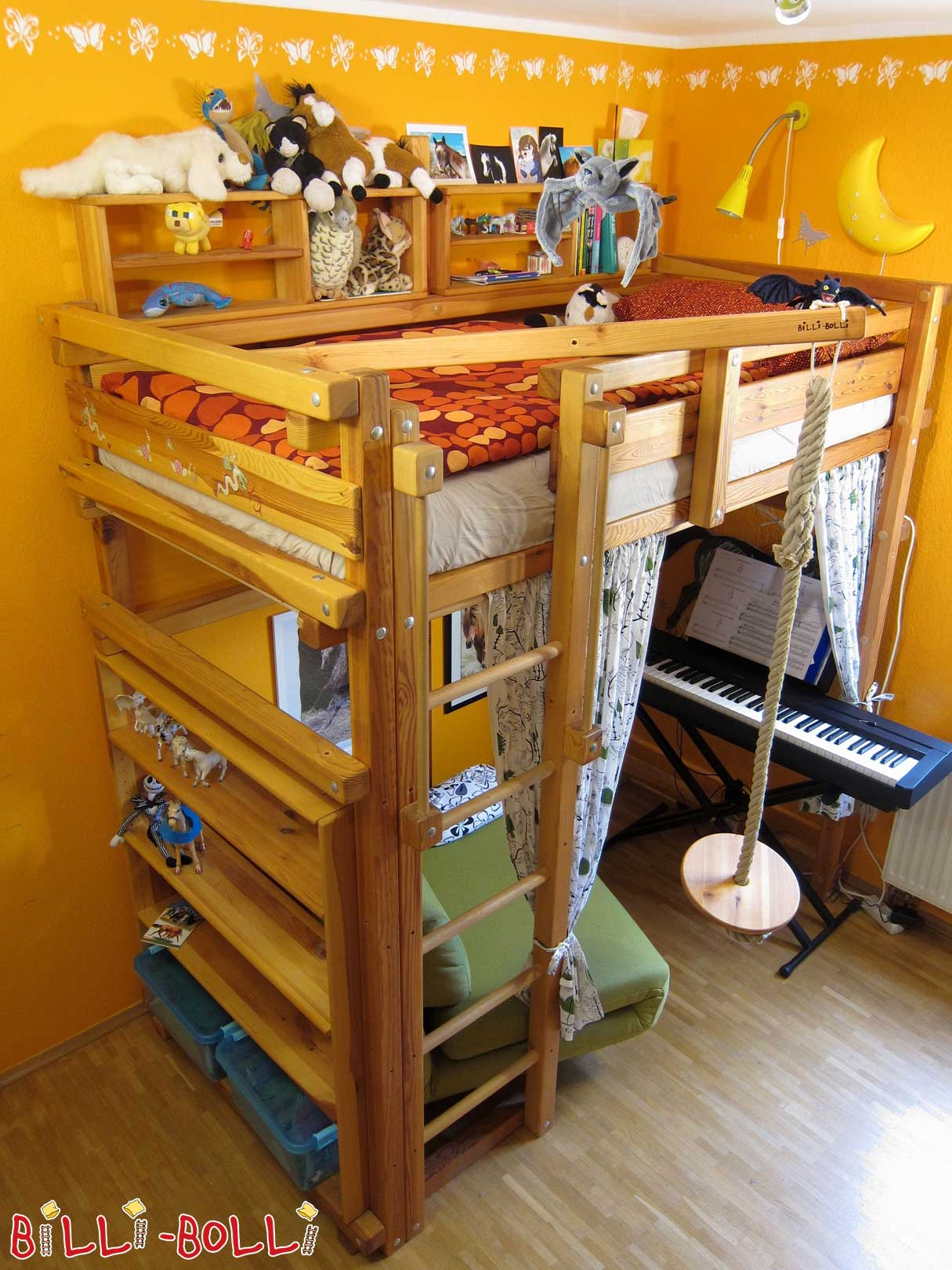 Loft bed growing with 90 x 190 cm, pine oil waxed (second hand loft bed)