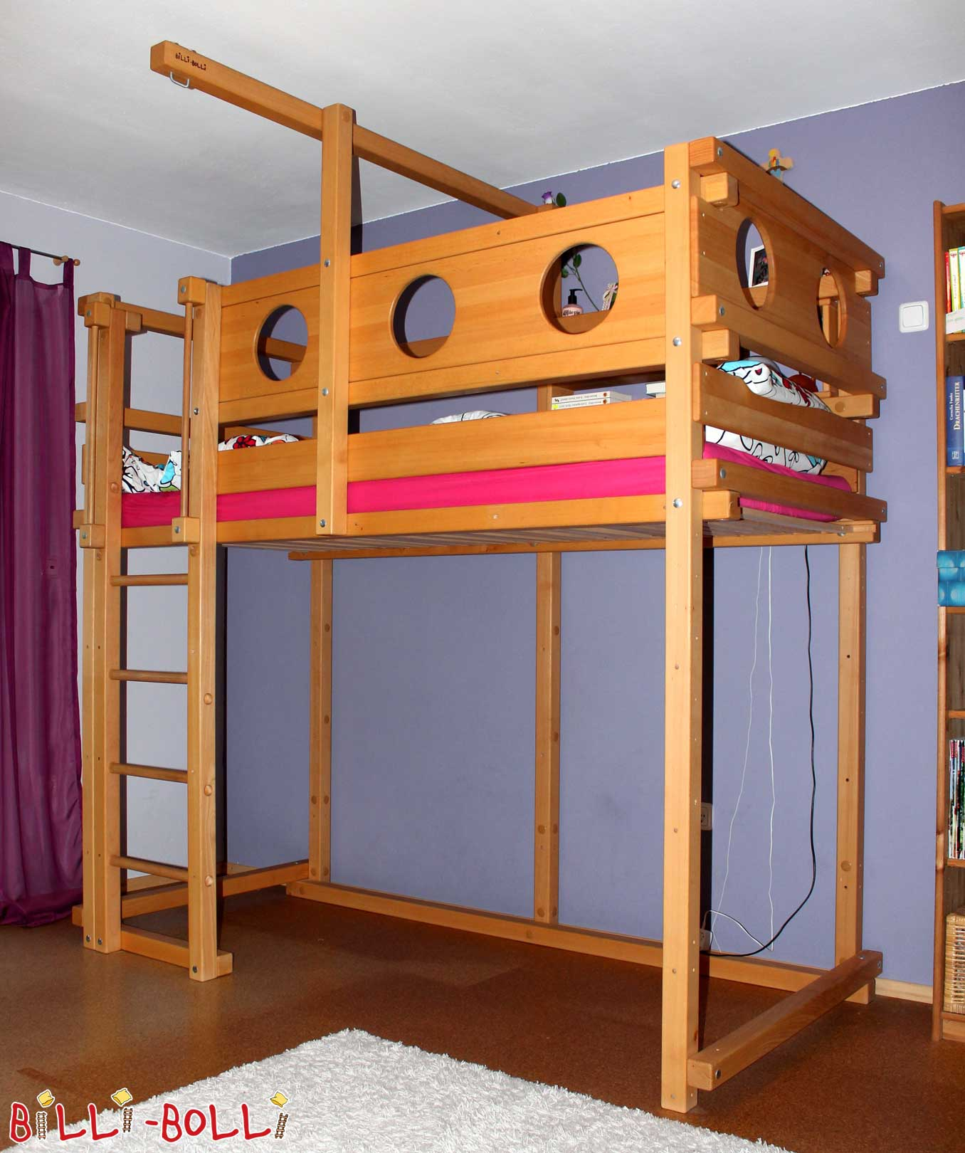 Loft bed growing with 90 x 200 cm, beech oil waxed (second hand loft bed)