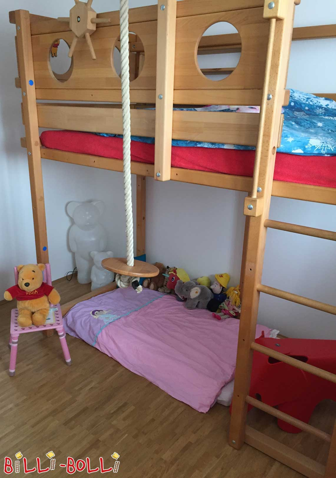 High bed, Croissant, 90 x 200 cm, beech oil waxed (second hand loft bed)