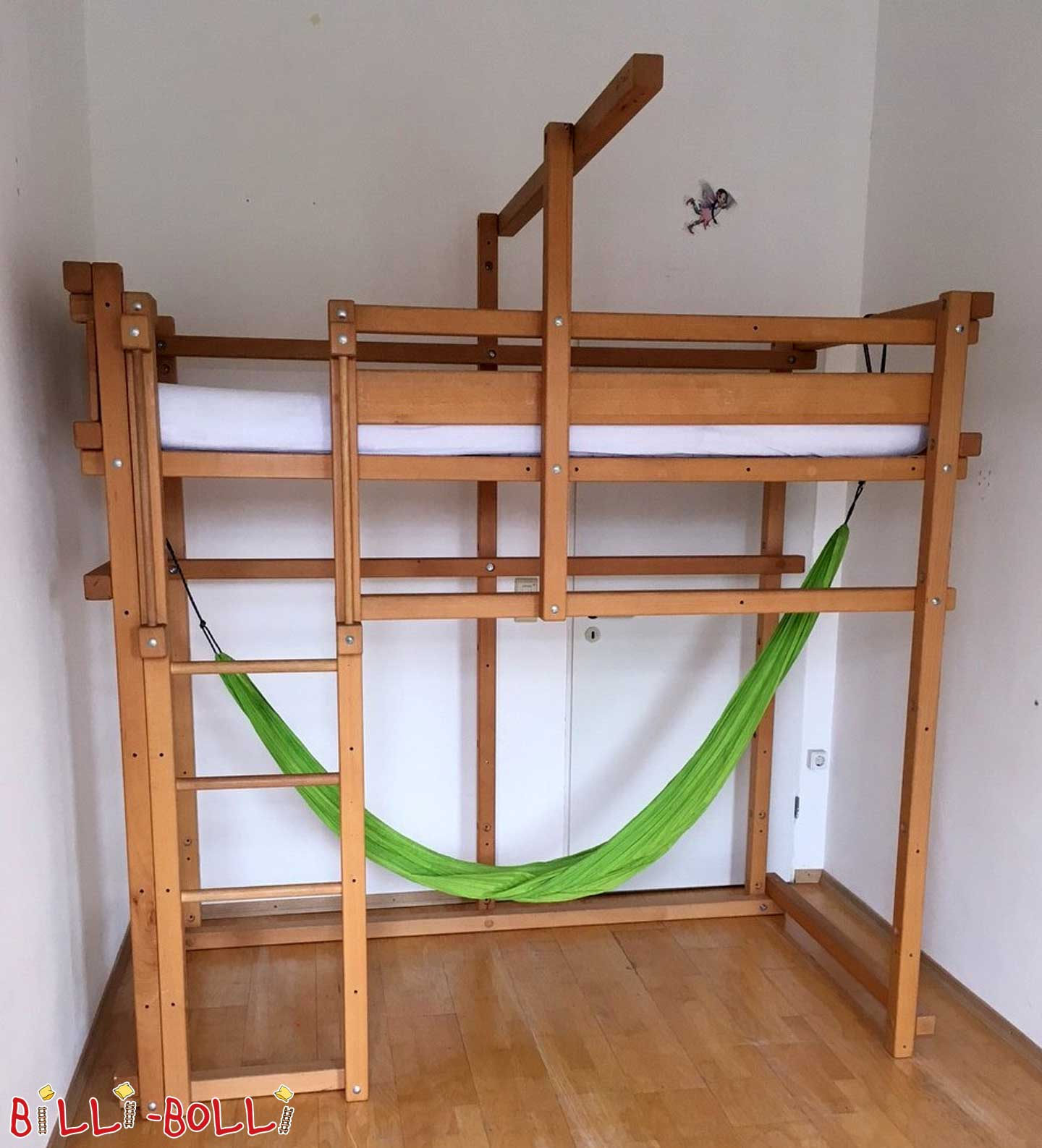 Loft bed growing with 100 x 200 cm, beech oil waxed (second hand loft bed)