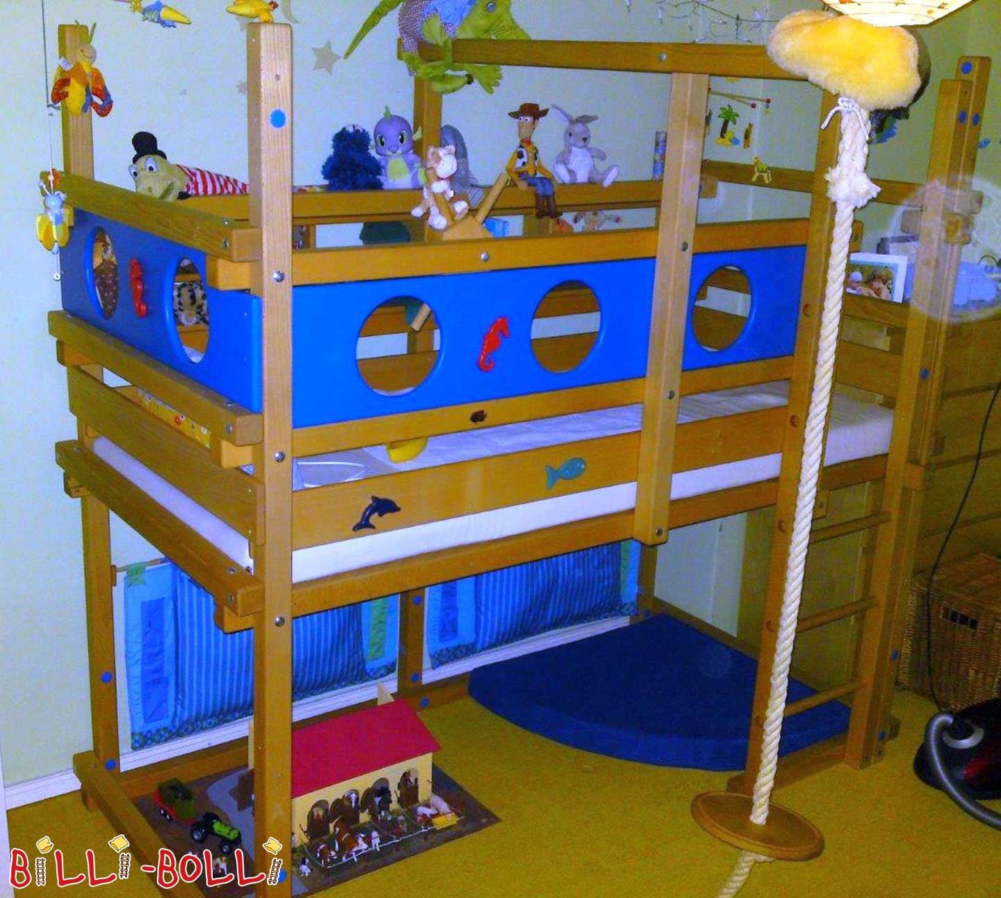 Bunk bed, growing, 90 x 200 cm, beech oiled-waxed (second hand loft bed)