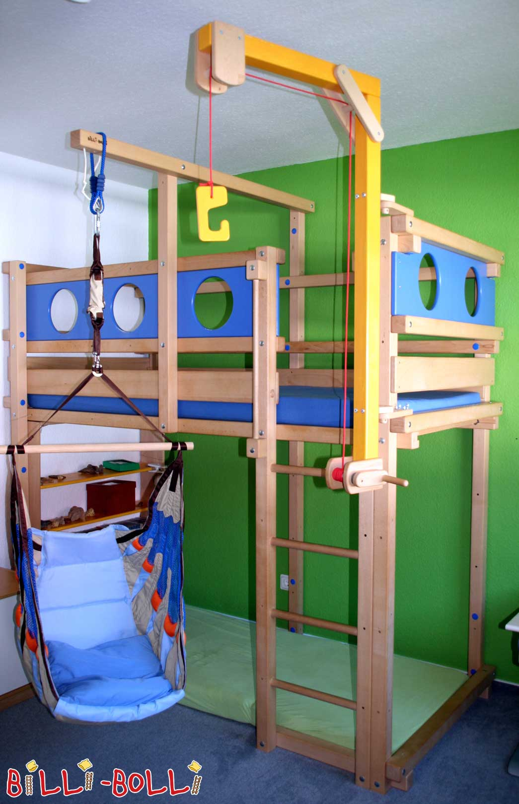 High bed, Croissant, 90 x 200 cm, beech untreated (second hand loft bed)