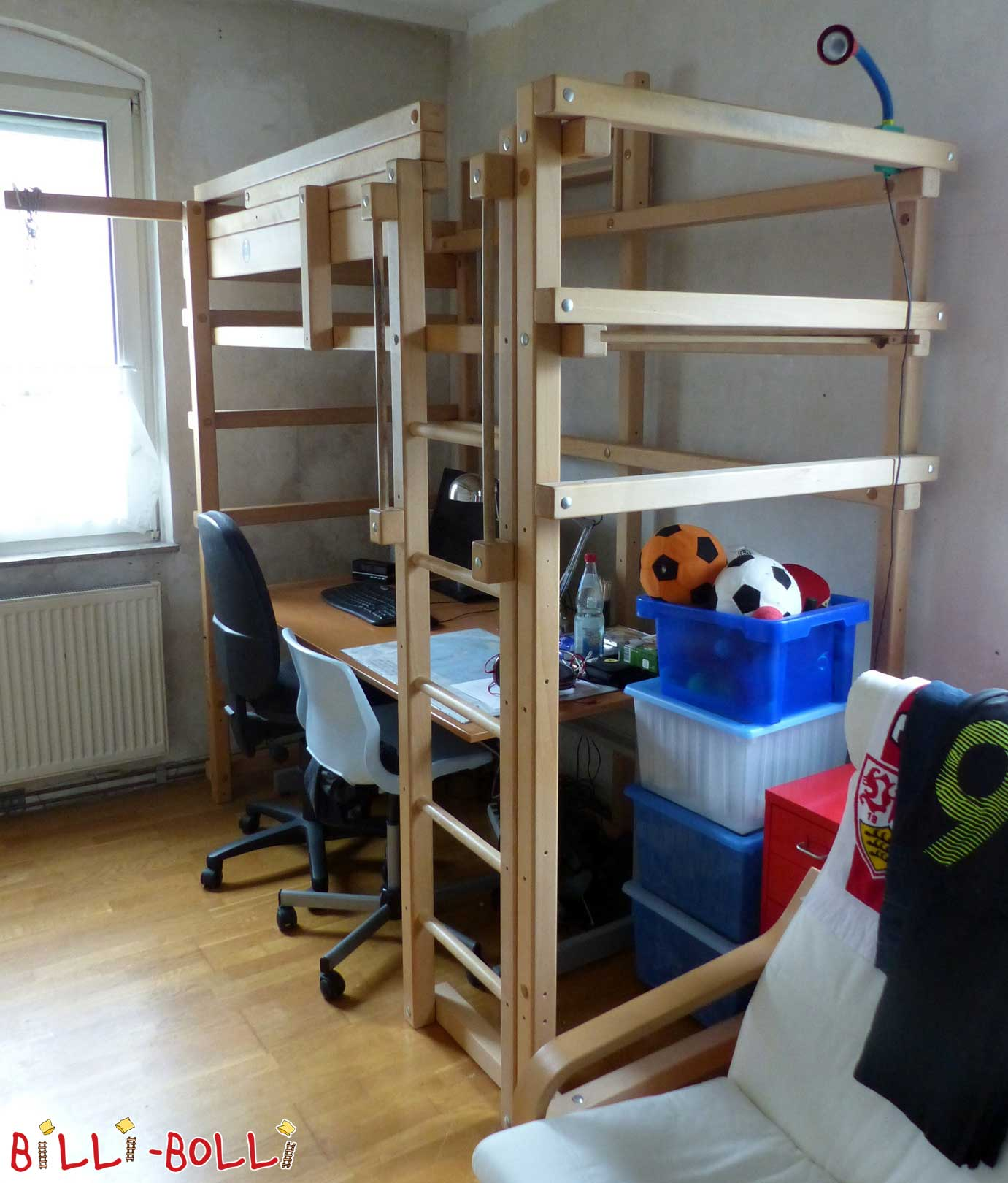 Loft bed growing with 90 x 200 cm, beech untreated (second hand loft bed)