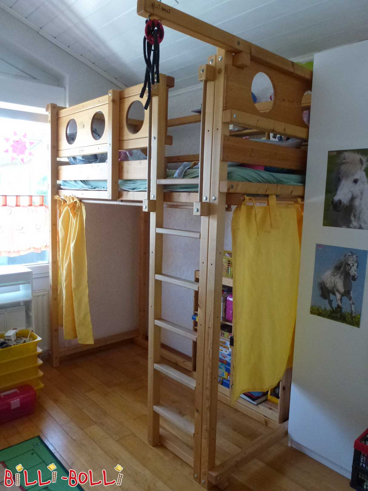 Loft bed growing with 90 x 200 cm, spruce oil waxed (second hand loft bed)