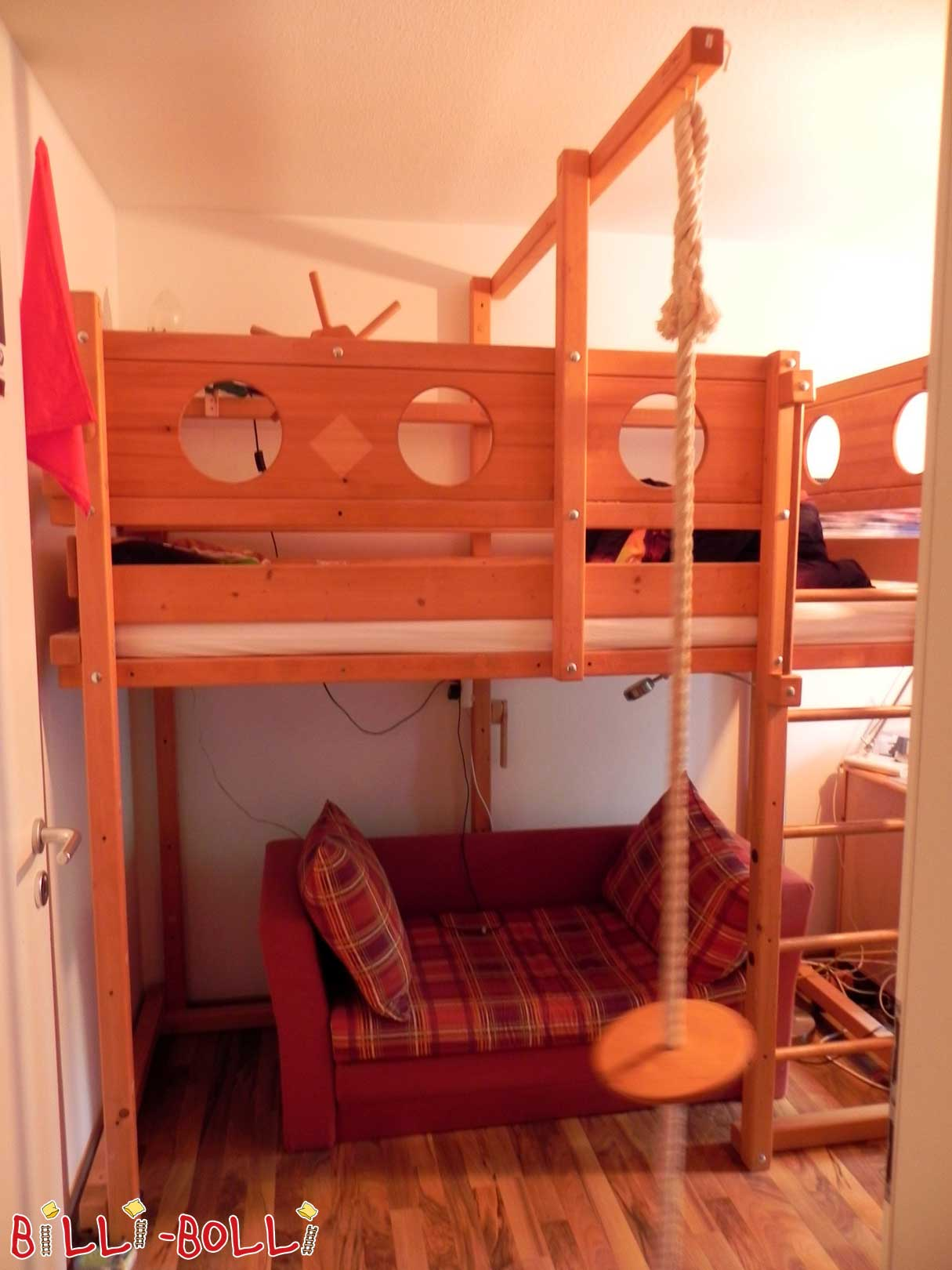 Loft bed growing with 90 x 200 cm, spruce coloured oiled (second hand loft bed)