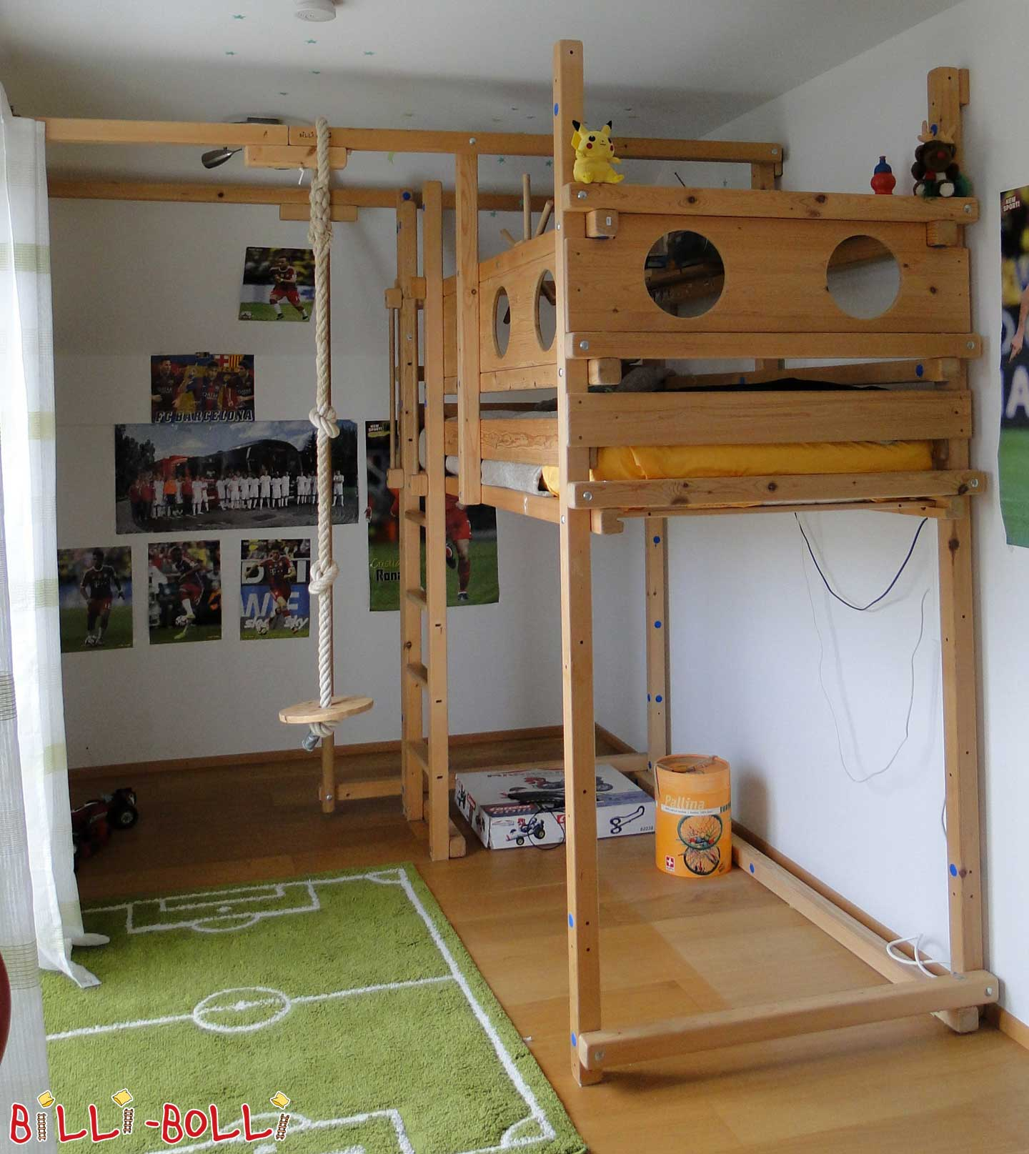 Croissant with bunk beds 90 x 200 cm, spruce, if left untreated (second hand loft bed)