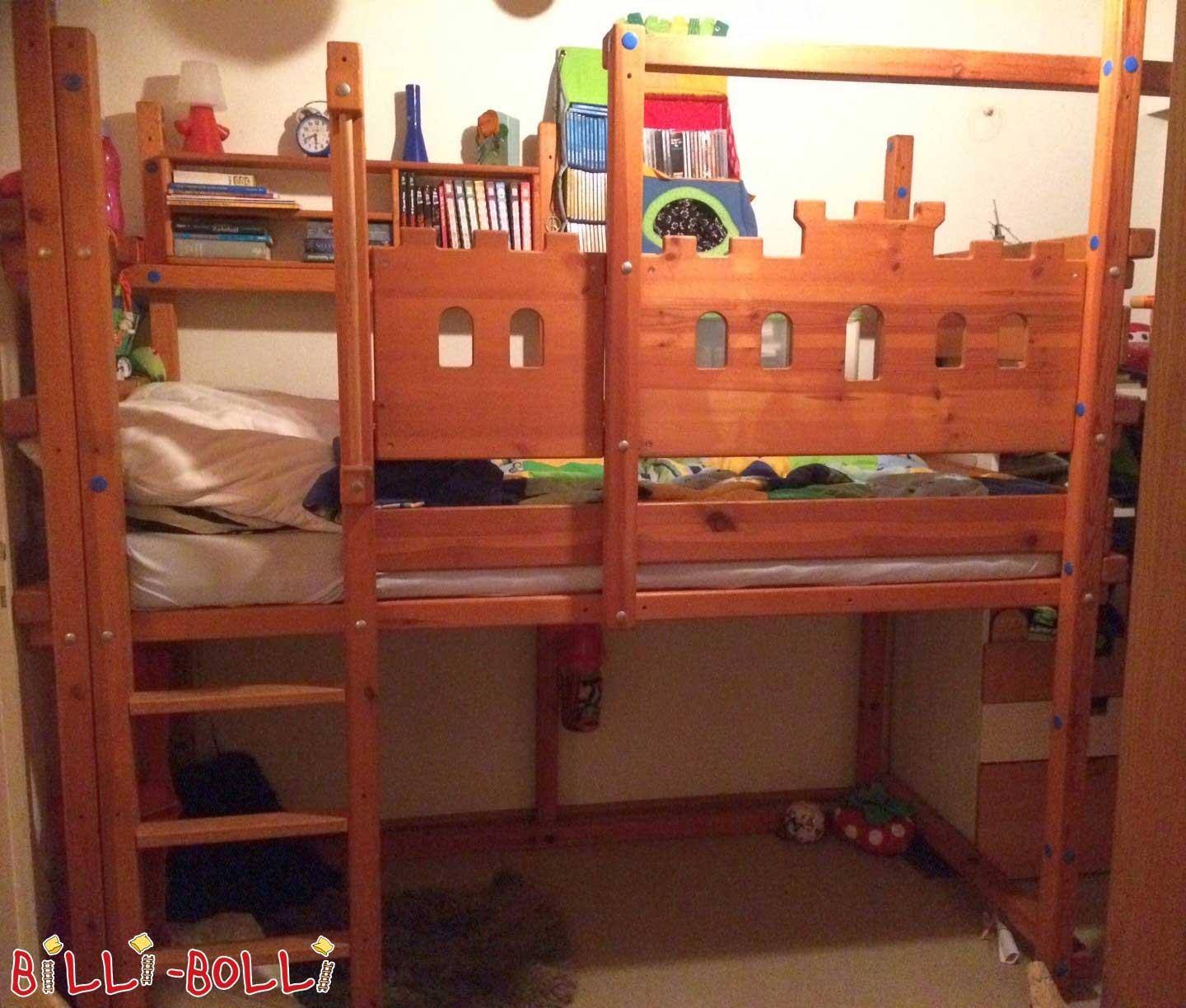 Loft bed growing with 90 x 200 cm, coloured oiled (second hand loft bed)