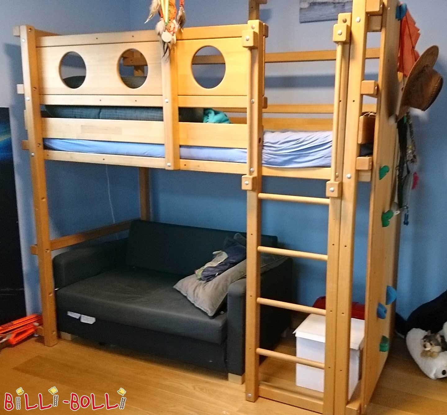 High bed with growing 90 x 200 cm incl. climbing wall made of oiled beech (second hand loft bed)
