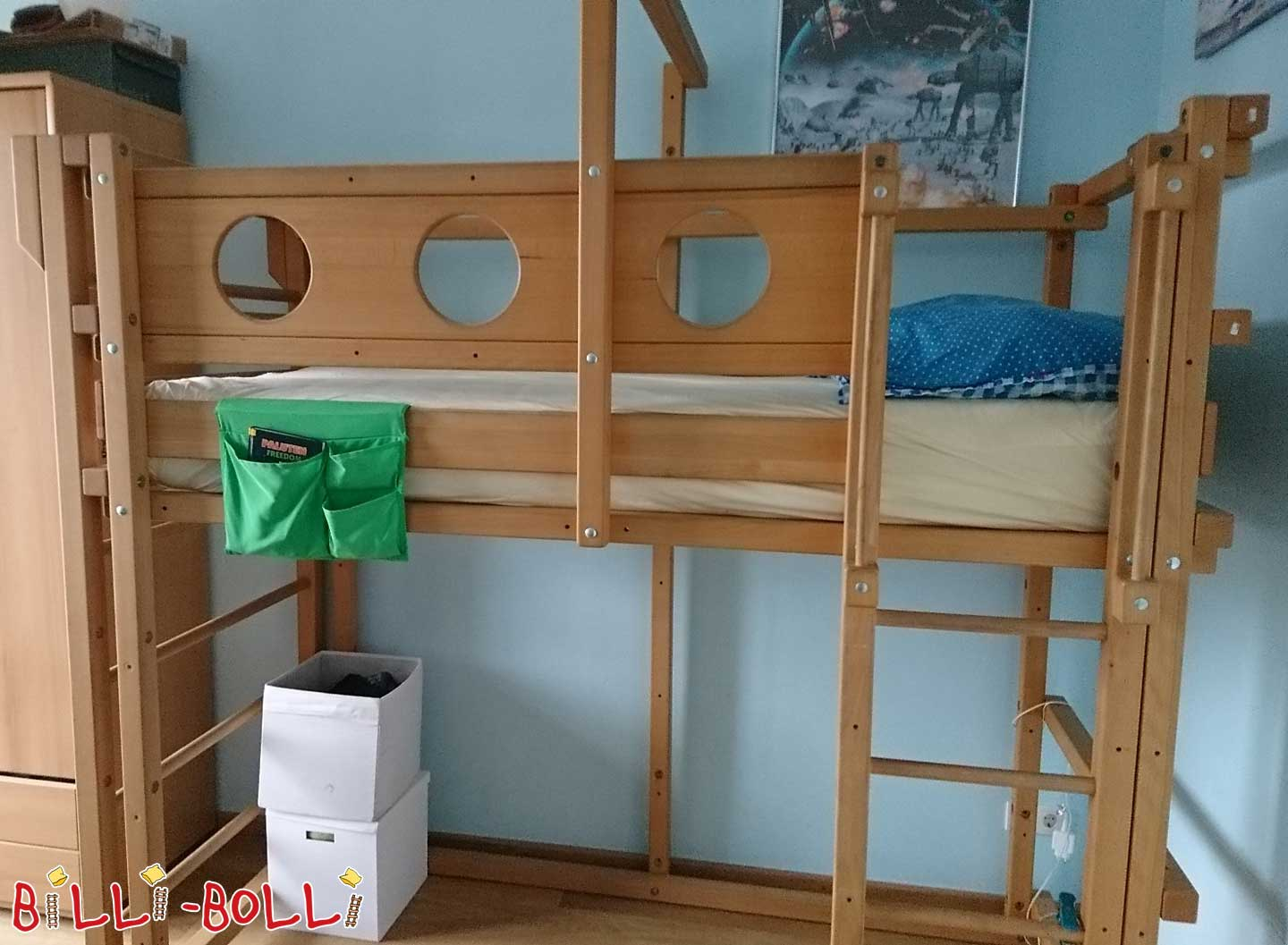 High bed with growing 90 x 200 cm incl. wall of oiled beech (second hand loft bed)