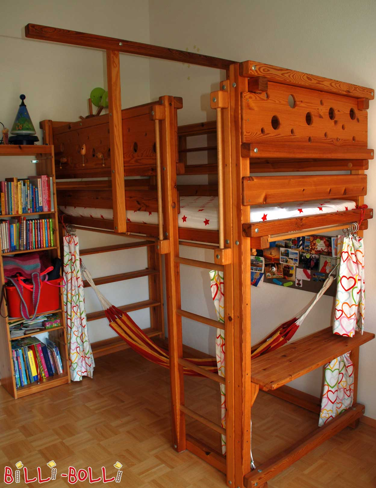 Loft bed growing with 90 x 200 cm, pine oil waxed (second hand loft bed)