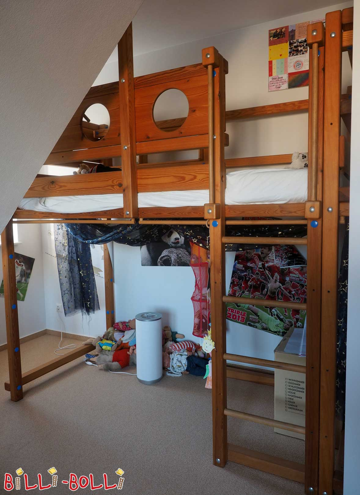 Raised bed with growing, 90 x 200 cm, pine oiled-waxed (second hand loft bed)
