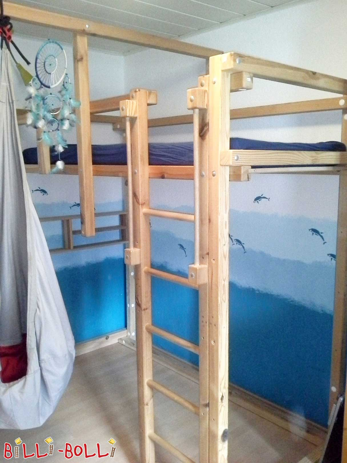Growing up bed, 90 x 200 cm, jaw untreated (second hand loft bed)