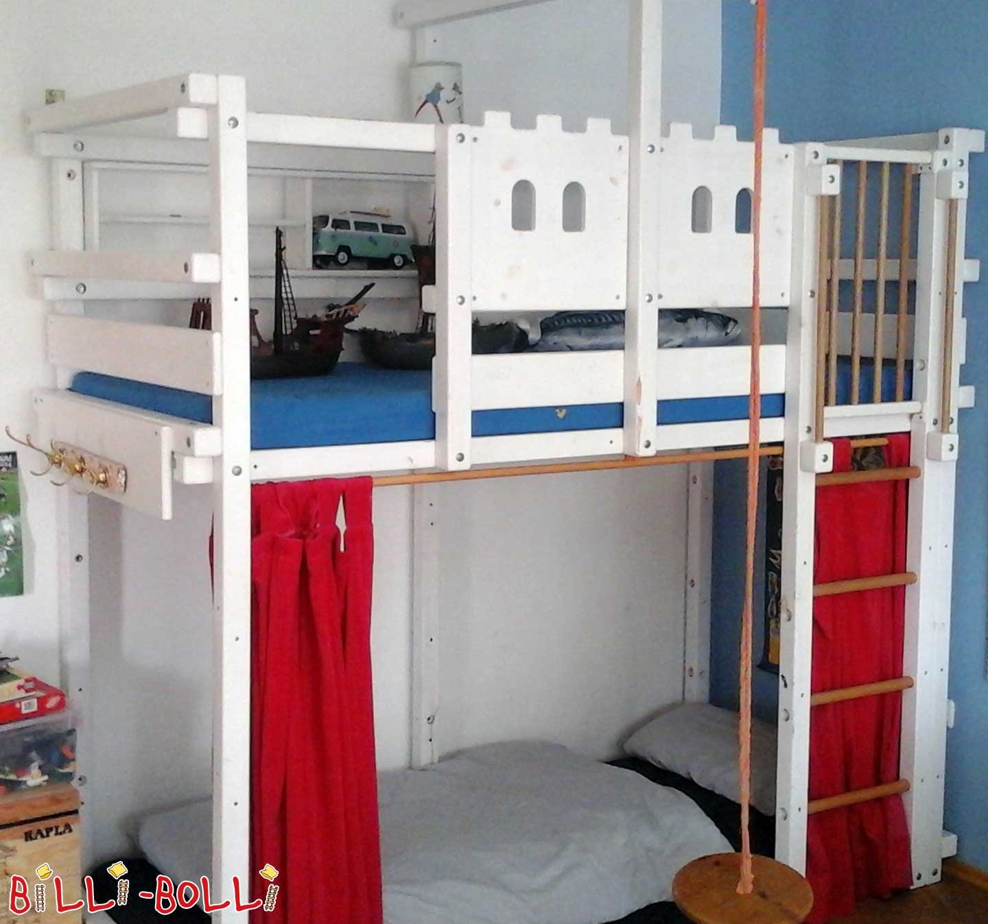 90 x 200 cm, pine Loft bed growing with, white lacquer (second hand loft bed)