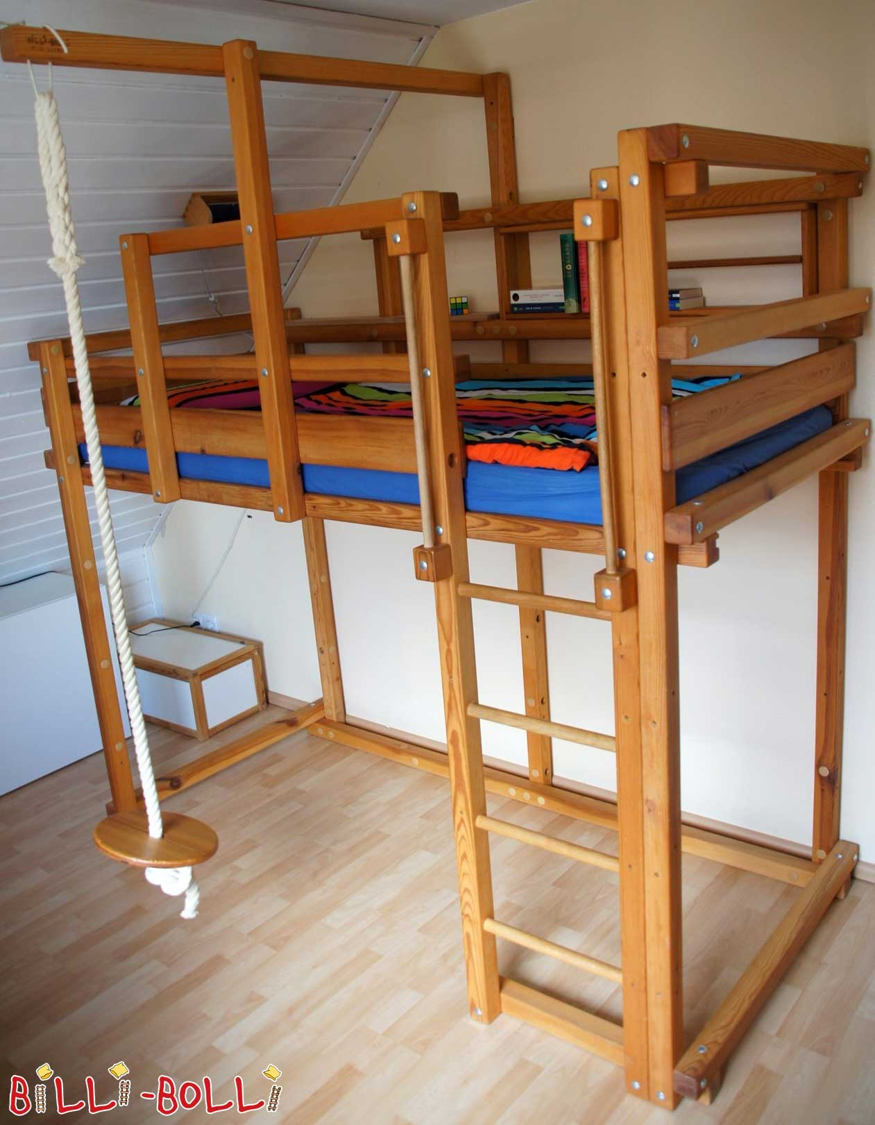 Loft bed growing with, 90 x 200 cm, with roof slope level (second hand loft bed)