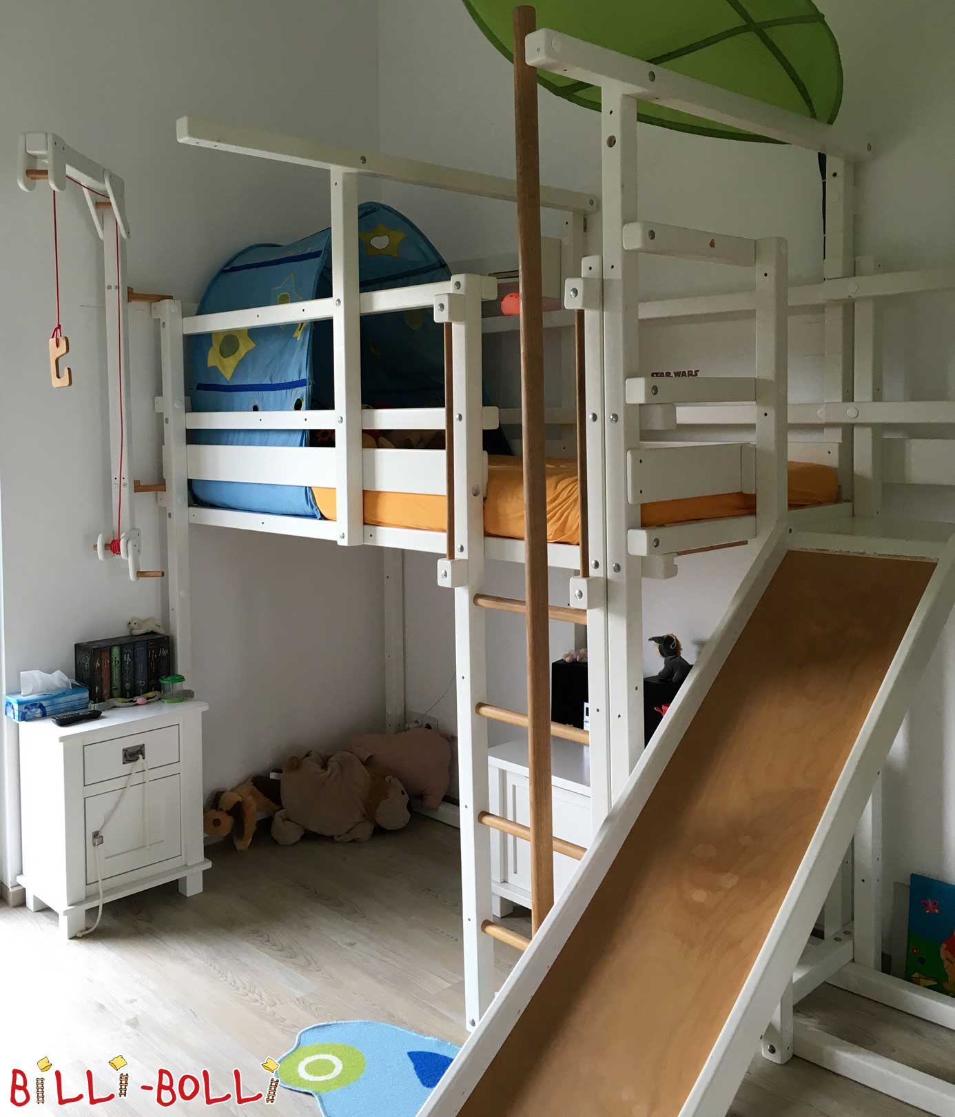 High bed growing, spruce white lacquered (second hand loft bed)