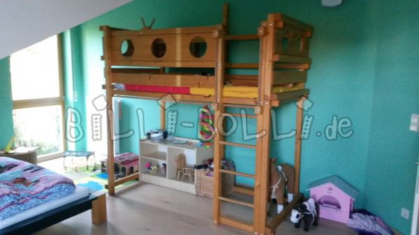 High bed, growing, oil-waxed spruce 90 x 200 cm (second hand loft bed)