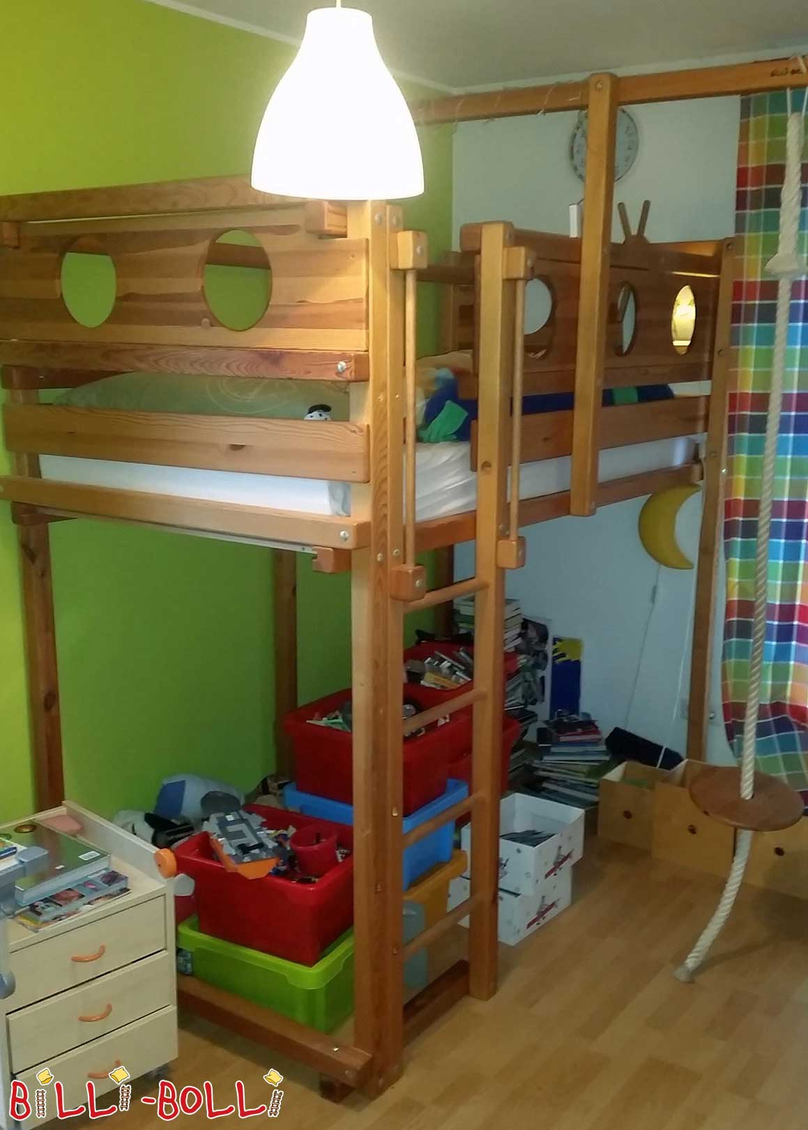 Bed of loft growing with, pine oil waxed (second hand loft bed)