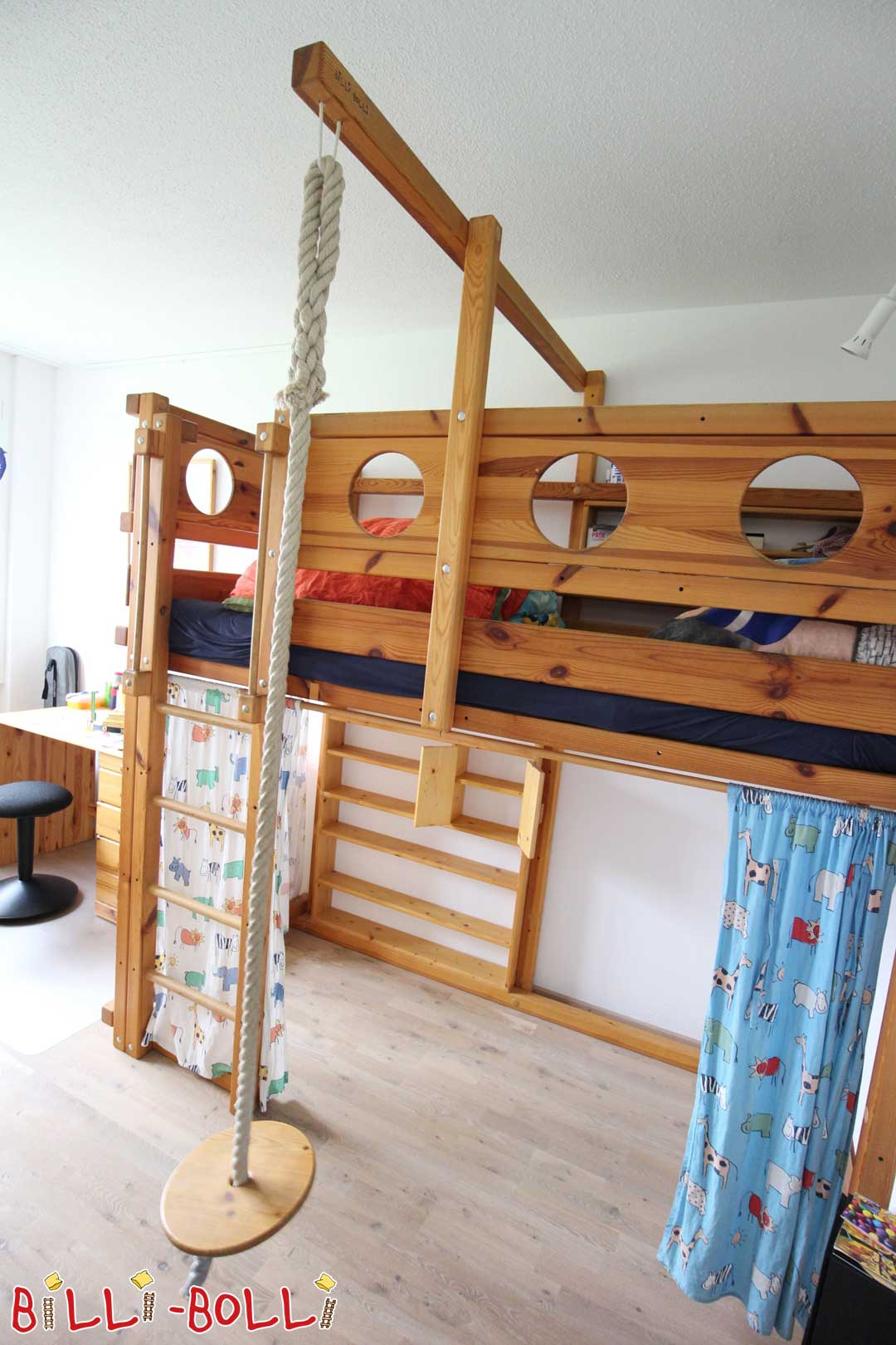 High Bed growing jaw oiled (Wax) 90x200cm (second hand loft bed)
