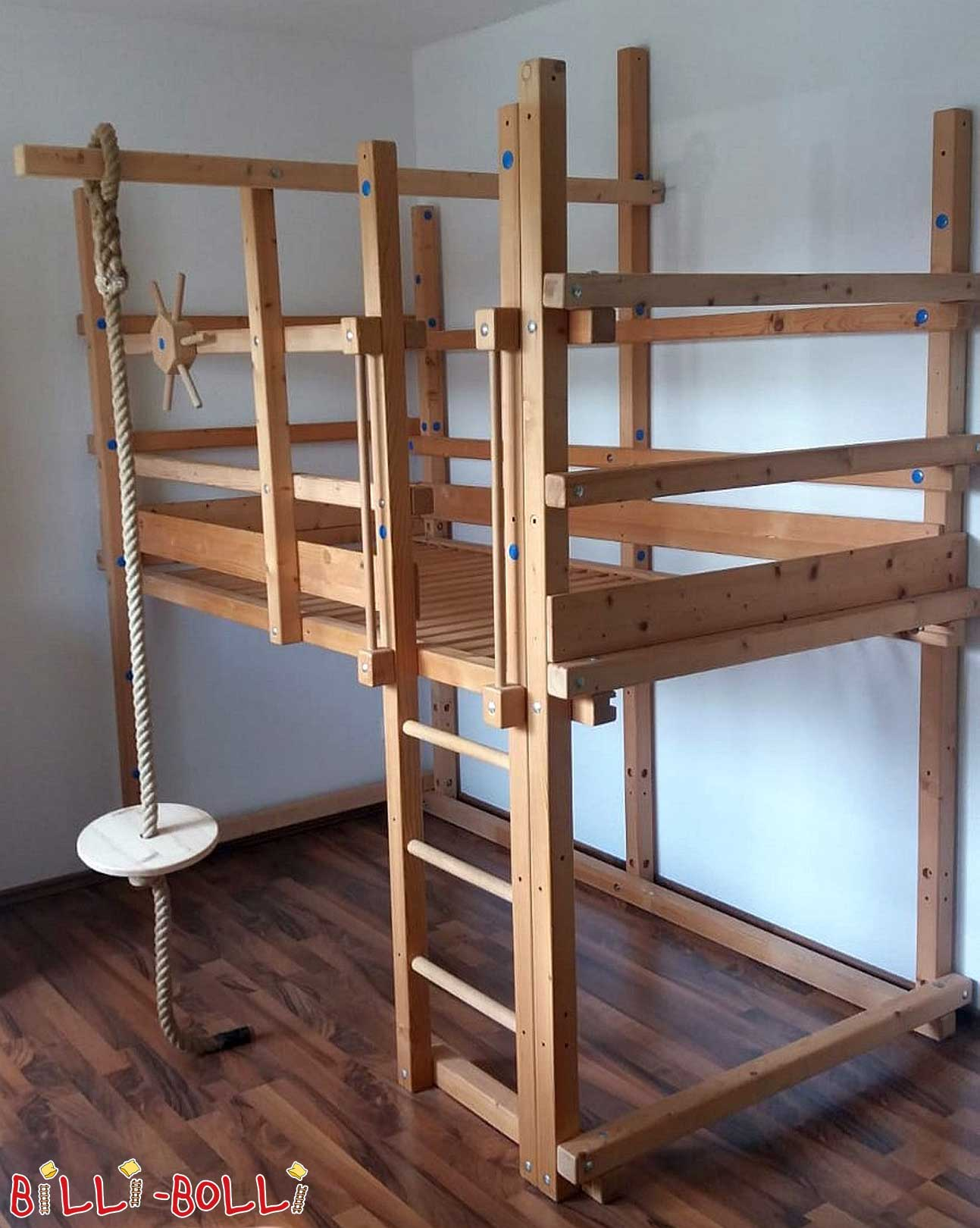 High bed with growing, pine natural (second hand loft bed)