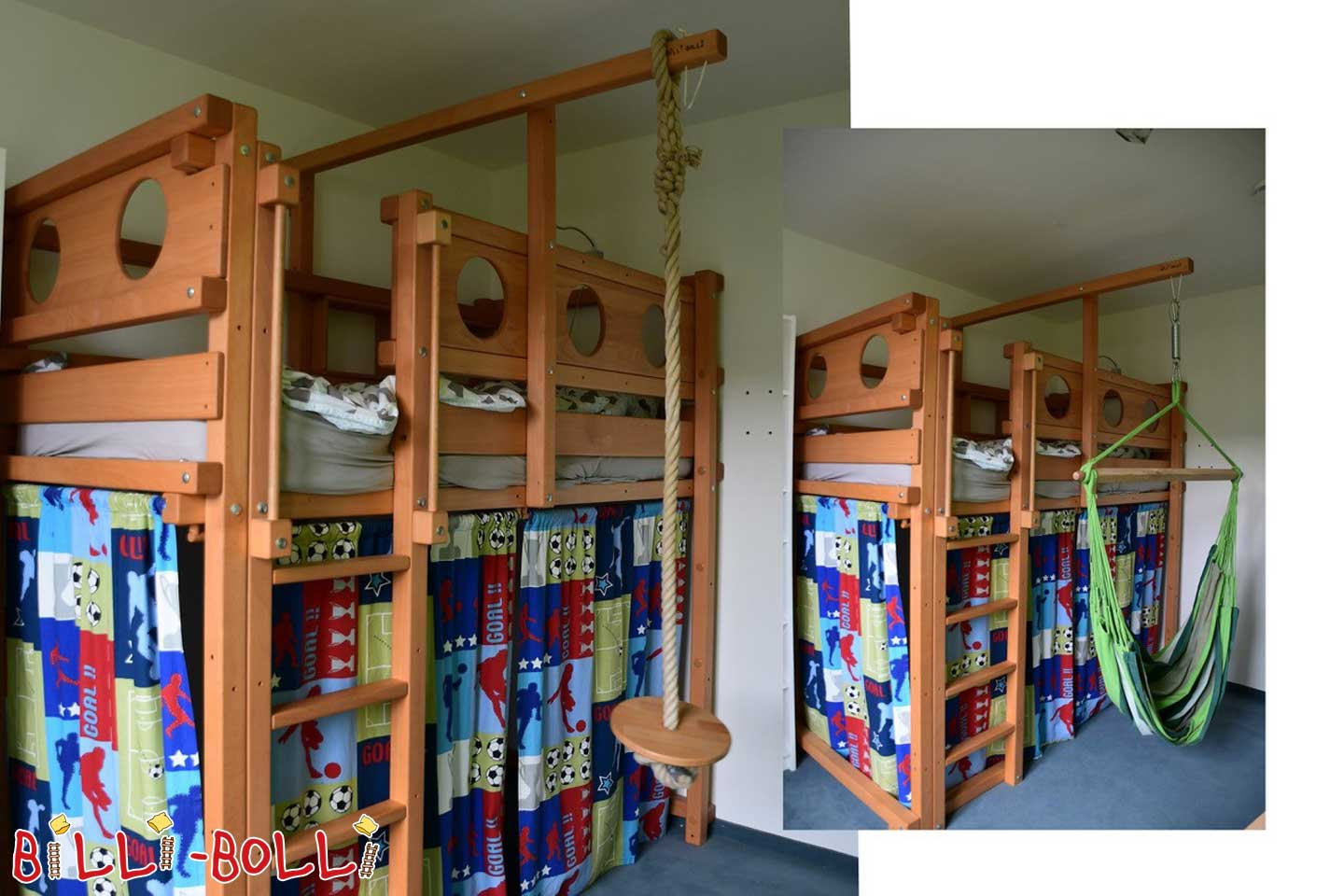 High bed with growing with portholes and rocking plates (second hand loft bed)