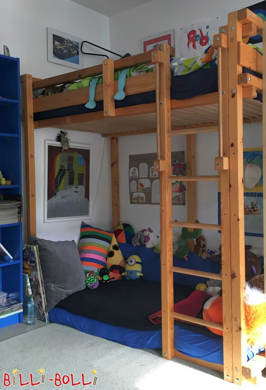 Youth high bed 90 x 200 cm with crane and swing (second hand loft bed)
