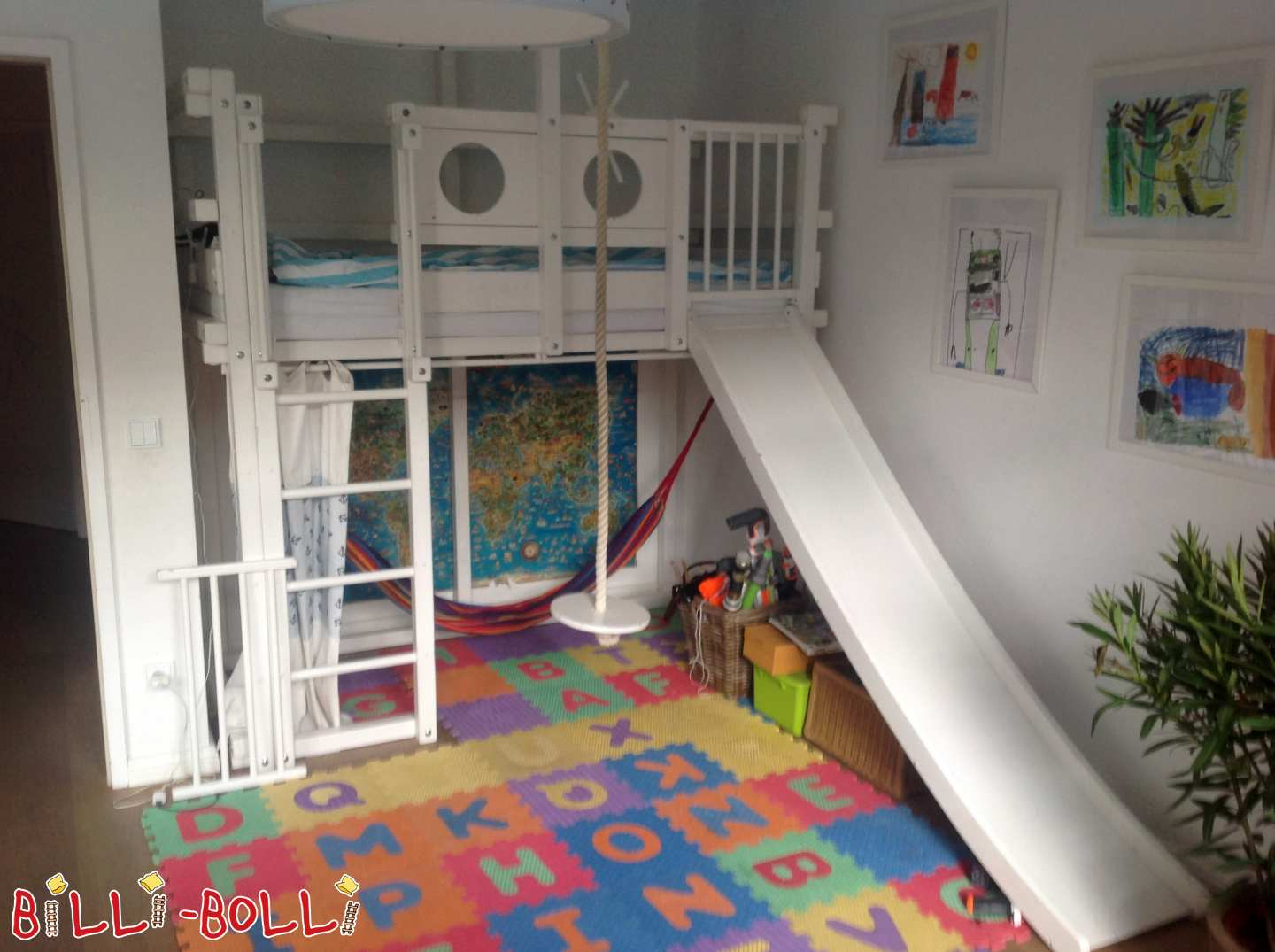 Children's bunk bed, white lacquered pine, 90 x 190 cm (second hand loft bed)