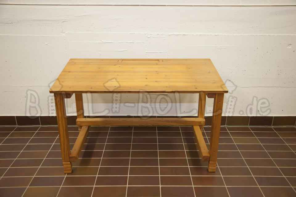Child's desk 123 cm, pine rolled in honey colour (second hand kids' furniture)