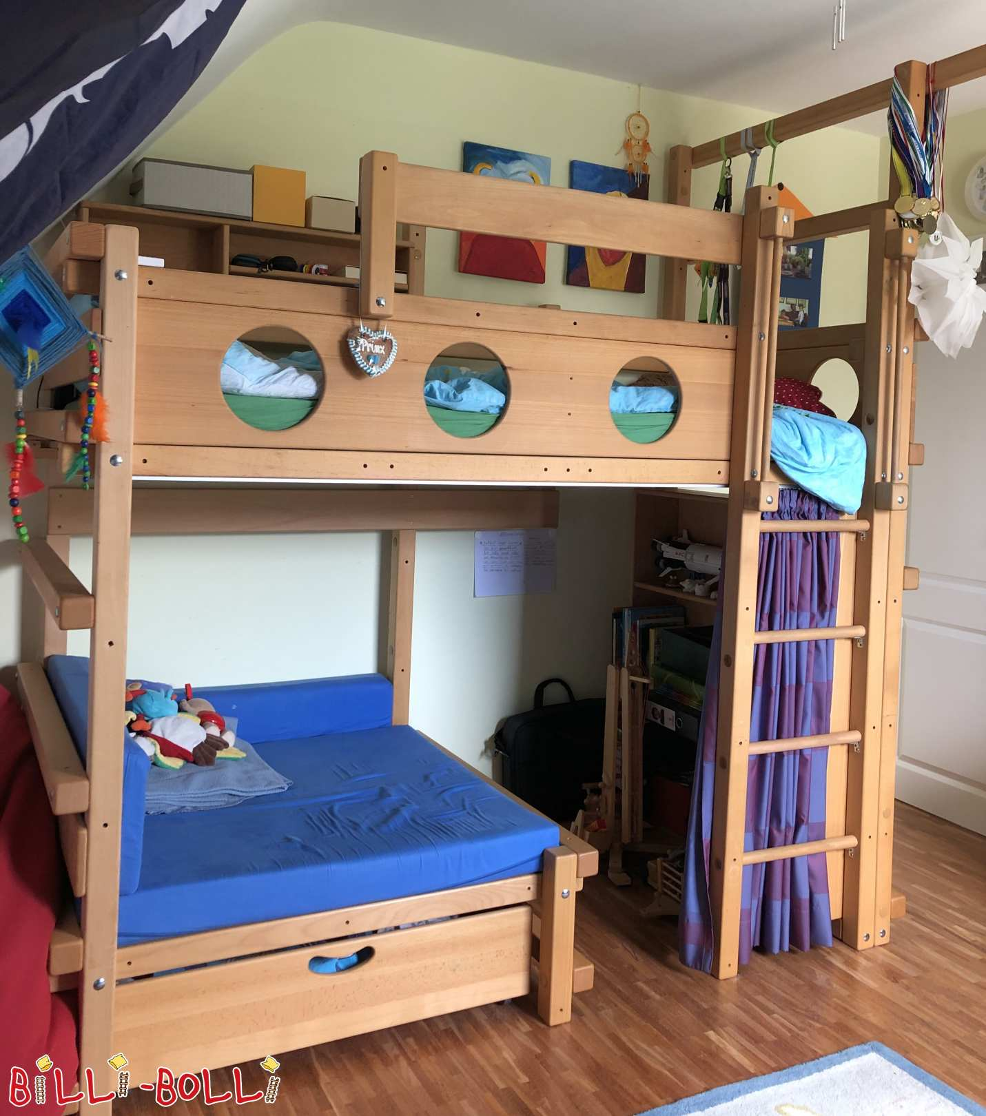 Cuddly-licking bed from beech oiled in Rosbach (second hand loft bed)