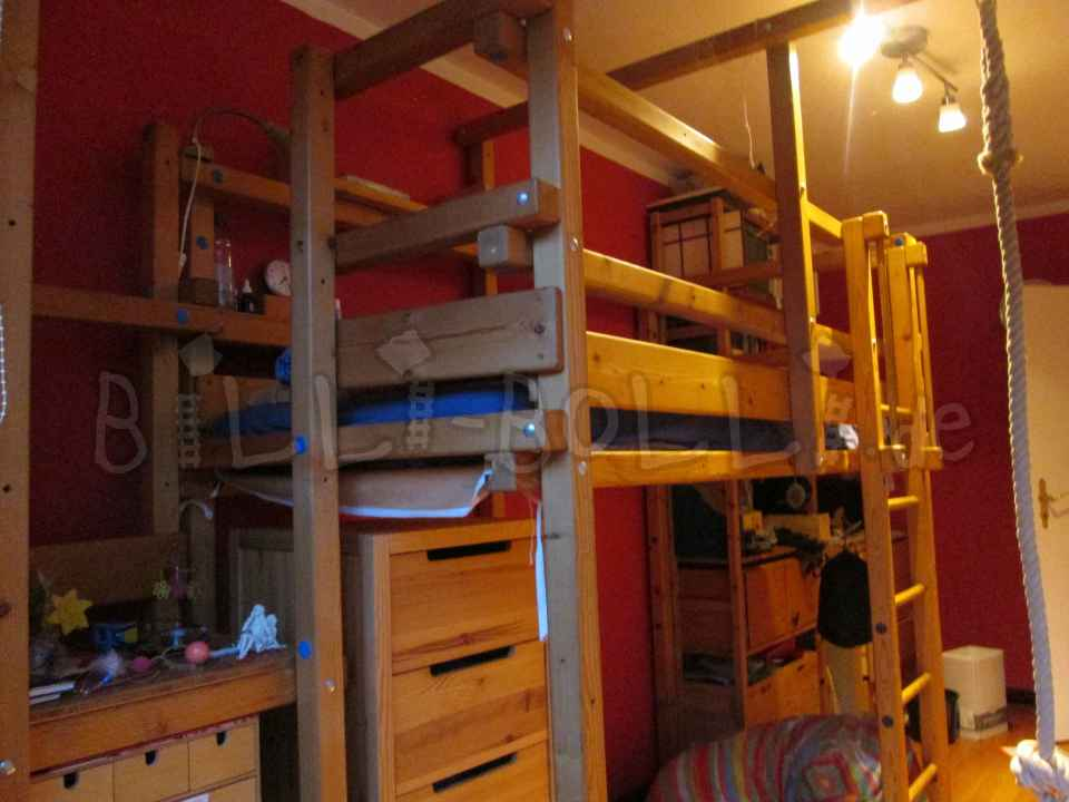 Growing Billi Bolli adventure bed, 90 x 200 cm, spruce oiled (second hand loft bed)