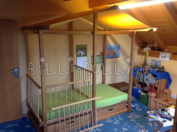 Growing gullIBO baby four-poster bed 90x200cm in pine art no. 206 (second hand loft bed)