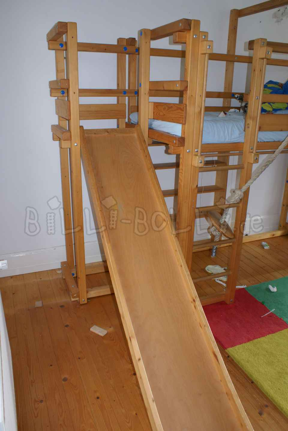 Co-growing high bed & slide tower with slide oiled in spruce (second hand loft bed)