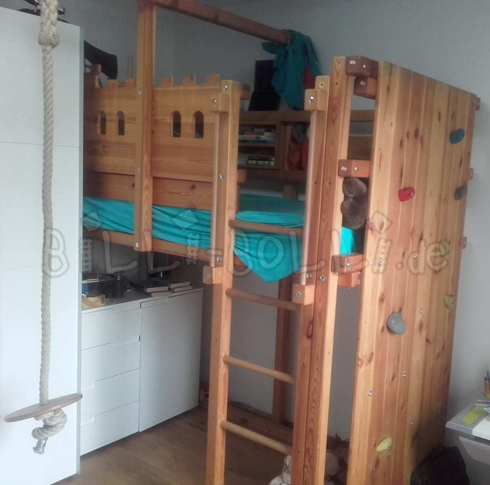 Collating high bed, 100 x 200 cm, pine oil-waxed (second hand loft bed)