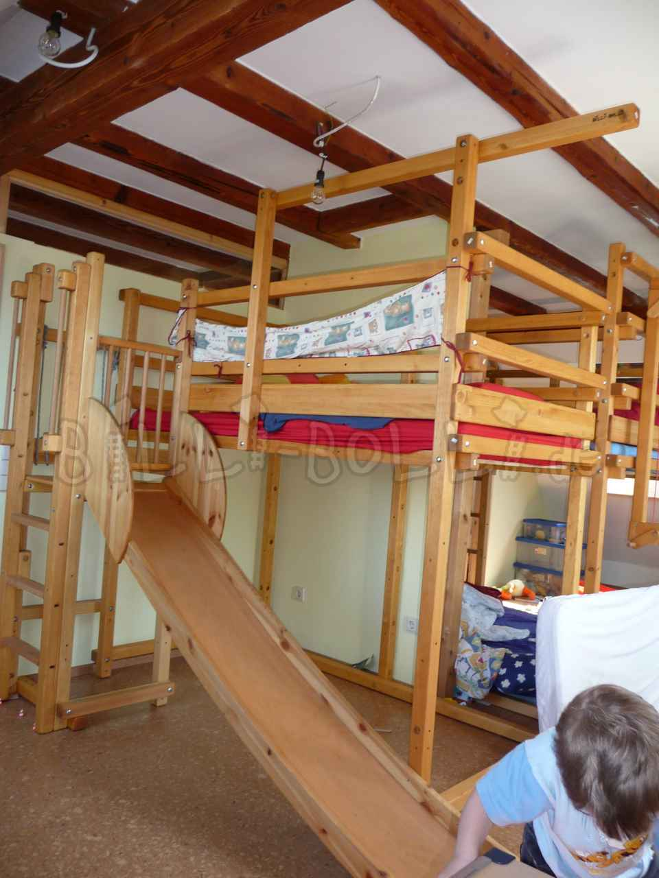 Collumbering high bed, 100 x 200 cm, pine honey coloured oiled (second hand loft bed)