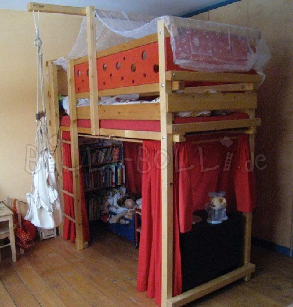 Collating high bed, 80 x 190 cm, spruce oil-waxed (second hand loft bed)