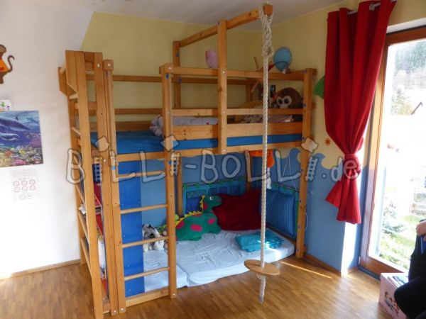 Collating high bed, 90/200 cm, spruce, oil wax treatment (second hand loft bed)