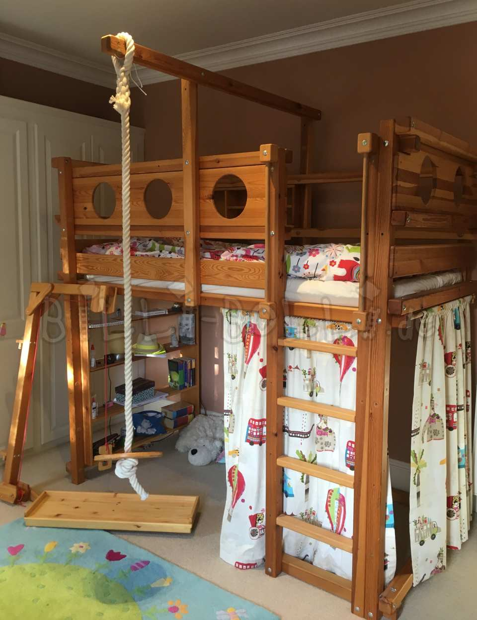 Collating high bed, 90 x 190 cm, pine oil-waxed (second hand loft bed)
