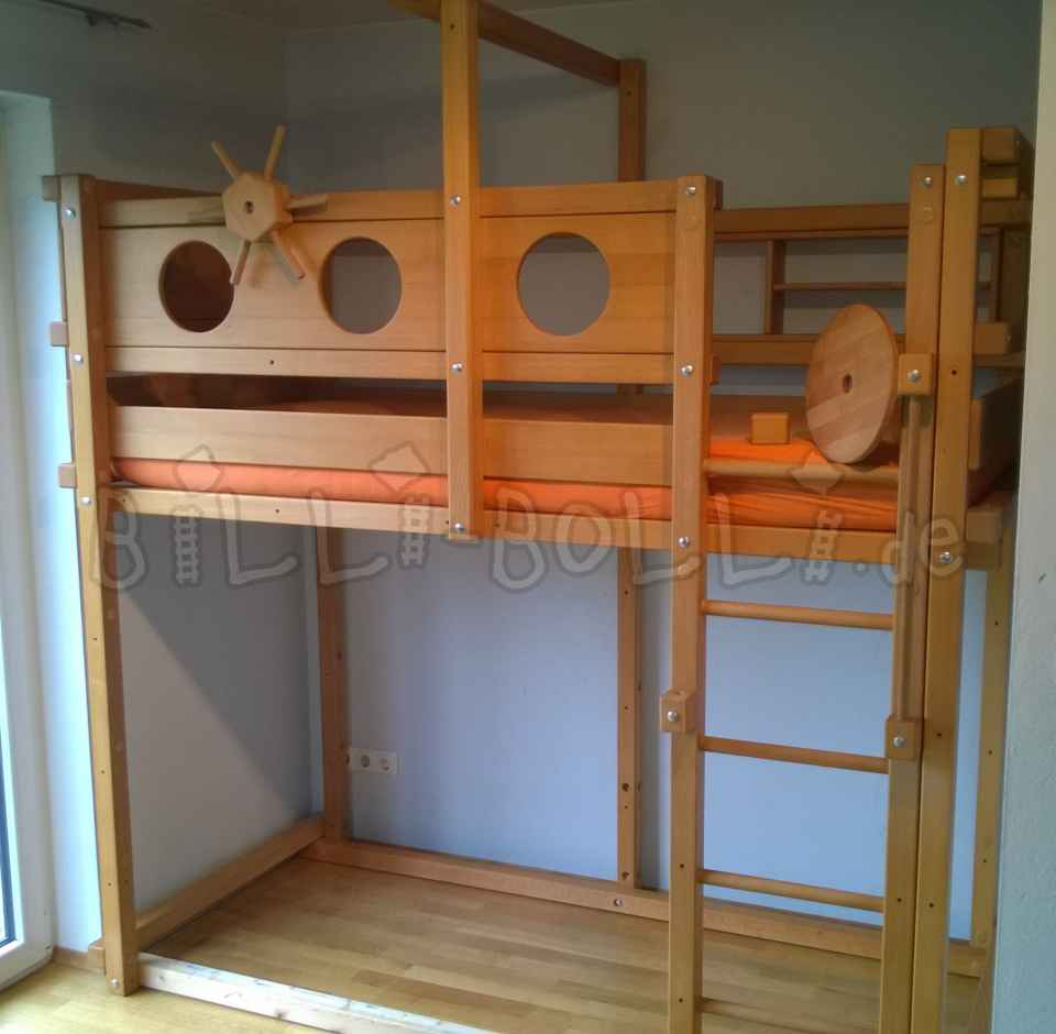 Growing bunk bed 90 x 200 cm, beech oiled-waxed (second hand loft bed)