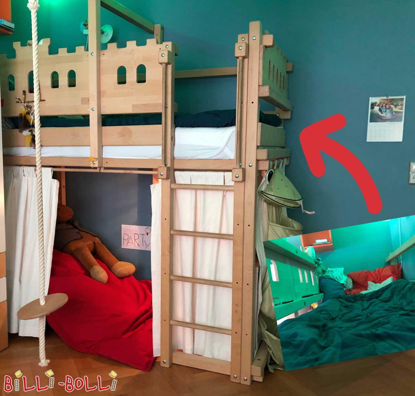 Growing bunk bed (90 x 200 cm) beech untreated in Mannheim (second hand loft bed)