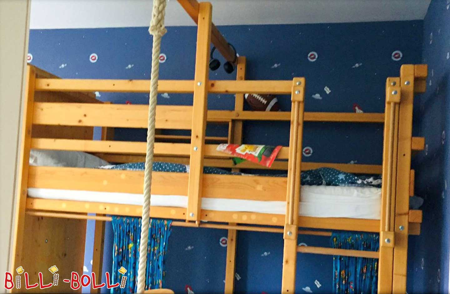 Collating high bed, 90 x 200 cm, spruce oil-waxed (second hand loft bed)