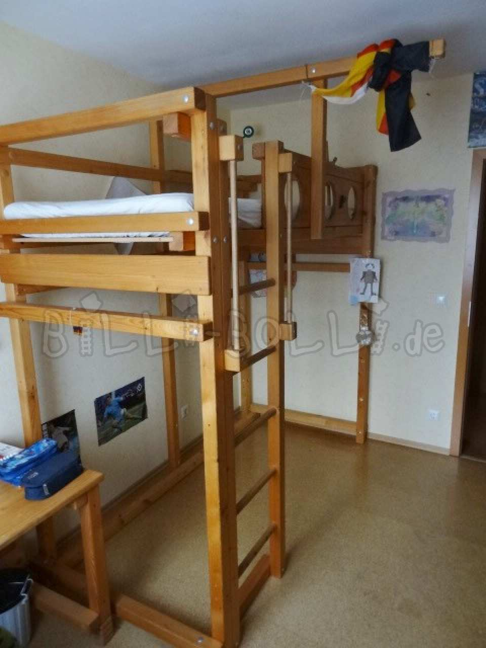Collating high bed 90 x 200 cm, spruce oil-waxed (second hand loft bed)
