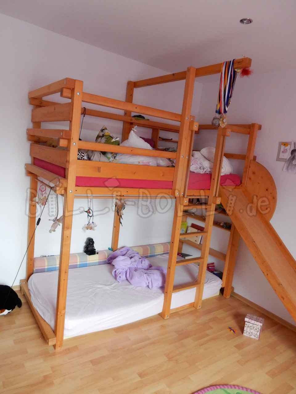 Collumbering high bed, 90 x 200 cm, spruce honey-coloured oiled (second hand loft bed)