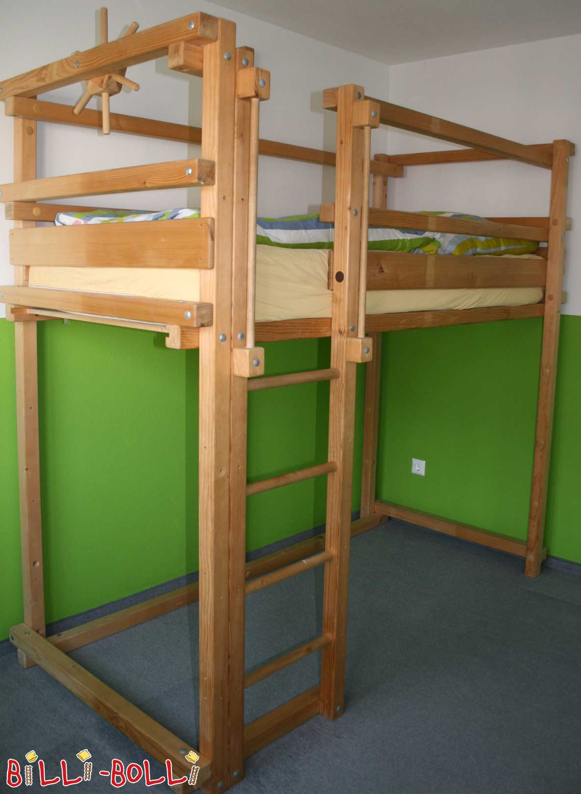 Growing bunk bed, 90 x 200 cm, spruce untreated (second hand loft bed)