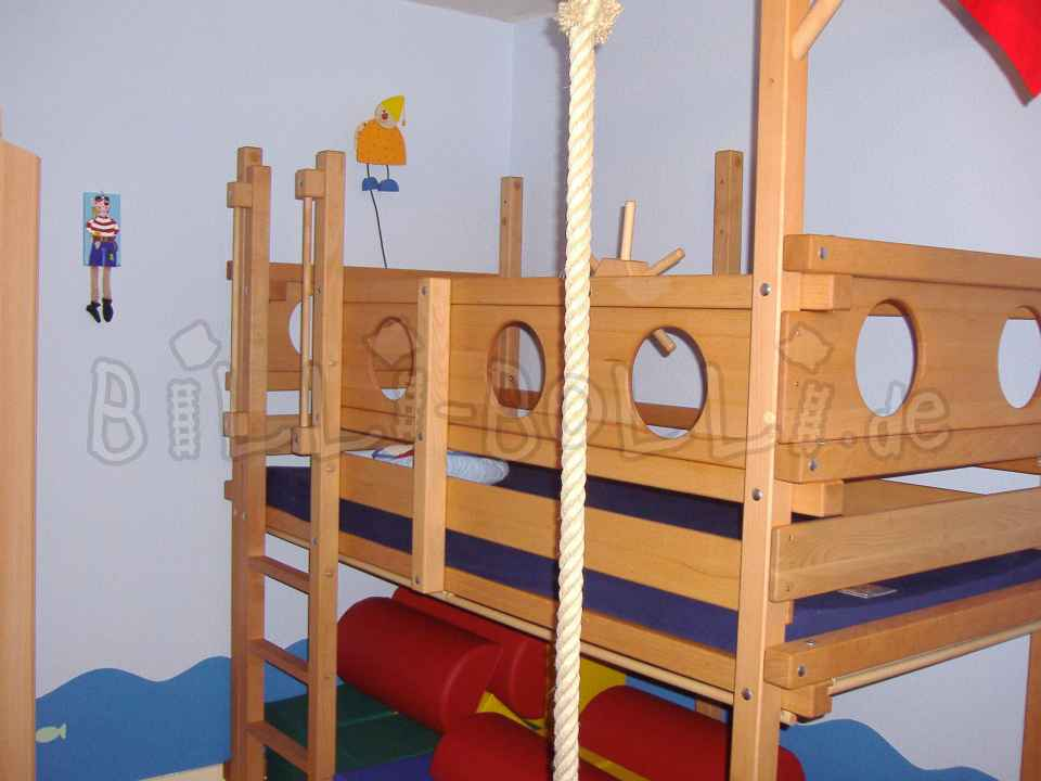 Growing bunk bed, 90 x 200 cm, oiled-waxed, beech (second hand loft bed)