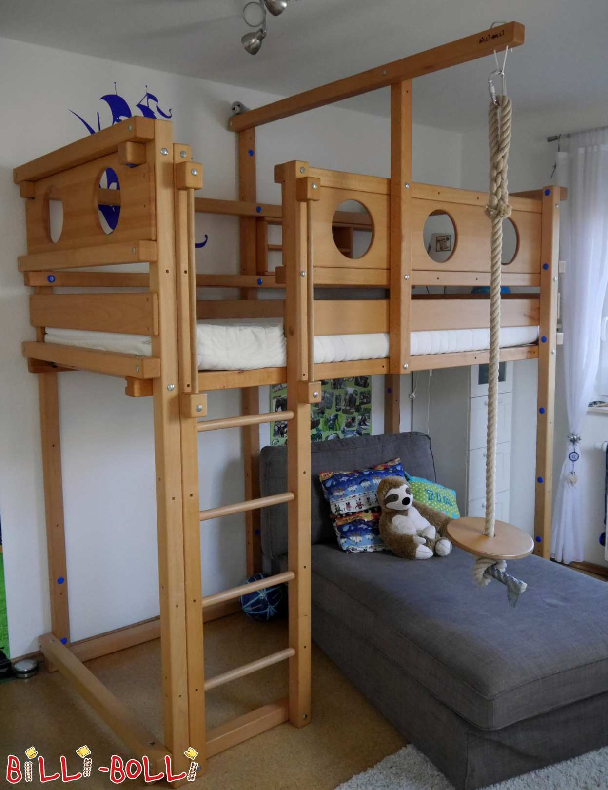 Growing bunk bed 90 x 200 cm in beech from Braunschweig (second hand loft bed)